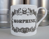 Apothecary Morphine Mug. New coffee mug, tea cup, coffee cup with skull illustration. Sherlock home decor