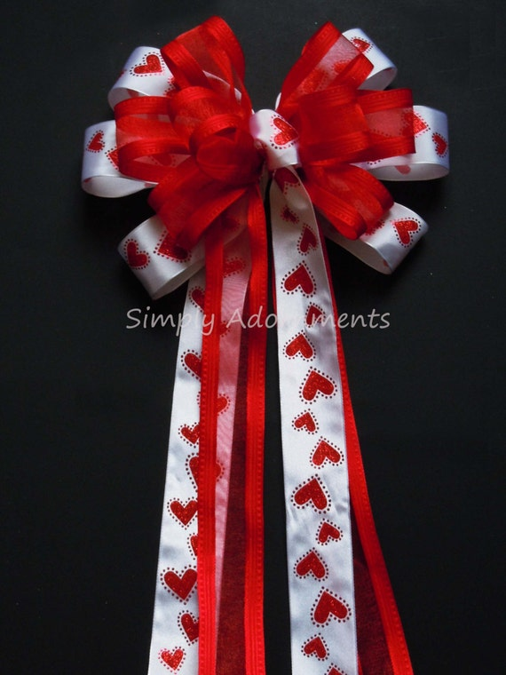 Red Heart  Valentine Wreath Bow Red Hearts Wedding decoration Bow Showers Bow Party Birthday Gift Church Pew Bow
