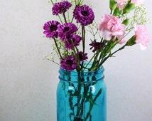 2 Blue Mason Jars 7 Inch Vintage Wedding Decor Wedding Mason Jar 2 Blue Ball Jars Jardin Brand Mason Jar Or Ball Jar Style