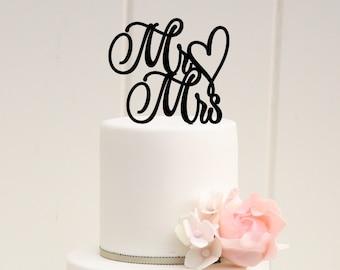 Original Wedding Cake Topper Mr and Mrs Topper Heart Design - 0039