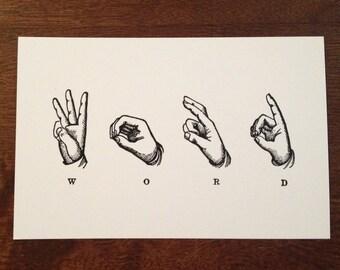 Word Postcard, Deaf ASL postcard, funny postcard, deaf wall art