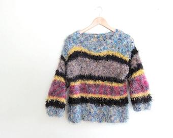 90s Fuzzy Sweater / 90s Raver / Metallic 1990s Striped Sweater / Fuzzy Sweater