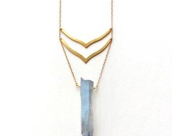 Raw Quartz Point Necklace, Iridescent Blue titanium coated quartz point necklace, choose your style