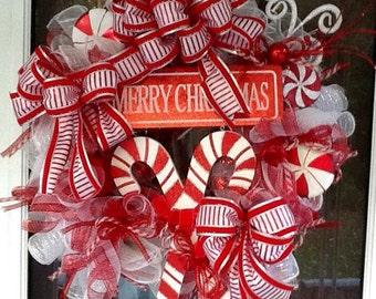 Christmas Peppermint Wreath, Christmas Wreath