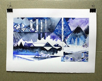 Blue winter landscape - watercolor landscape - Finland - scandinavian design - scandinavian decor - Finnish art - Blues of Savo