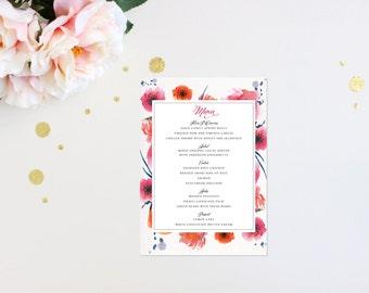 Modern Tropic Floral Elegant Luxury Bold Classic Unique Calligraphy Destination Beach Affordable Canvas Striped Wedding Menu