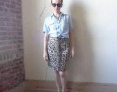 faux leopard fur pencil skirt/ 80s// small