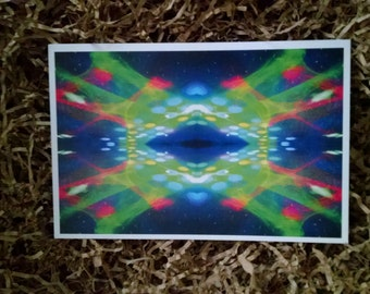 P73 - Trippy Psychedelic Fractal Lasers Postcard