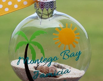 Ornament - Beach Sand & Shells - Honeymoon/Vacation Keepsake