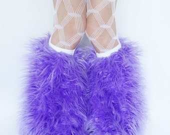 MADE TO ORDER Lavender purple Fluffy Leg Warmers rave Fluffies fur boots furry bootcovers fuzzy boots faux fur leggings
