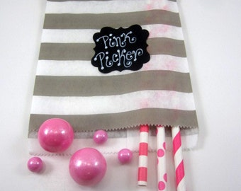 24- 5X7 Gray & White  Stripe Bags, Treat Bags, Favors, Candy Buffet, Wedding, Rugby Stripe