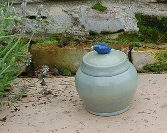 Handmade Pottery Jar, hand thrown stoneware pottery, pottery canister, cookie jar, sugar jar, home decor, kitchen decor, bird decor