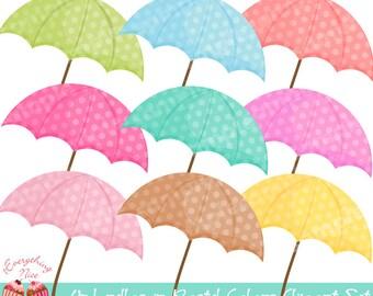 Umbrellas in Pastel Colors Clipart Set