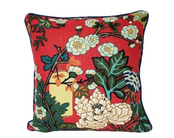 Red Schumacher Piped Chiang Mai Dragon with Lanterns and Flowers with Navy Blue Piping
