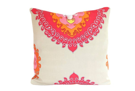 Schumacher Super Paradise Punch Pillow Cover- Indoor Outdoor Fabric in Red, Orange Pink and Tan