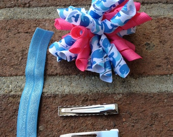 Pink Whale Korker Hair Bow