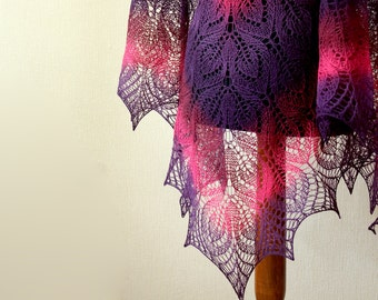 Hand Knit wool woman shawl - funcia