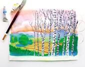 Mountain Landscape, Birch Trees, Colorful Gouache Painting, Rolling Hills, Sunrise Landscape, Sunset Landscape