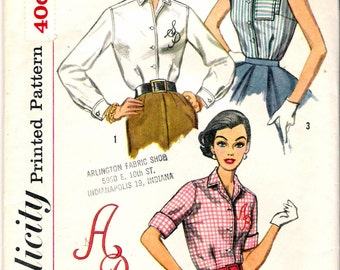 """Vintage 1957 Simplicity 2195 Classic Shirt Blouses Sewing Pattern Size 12 Bust 32"""""""