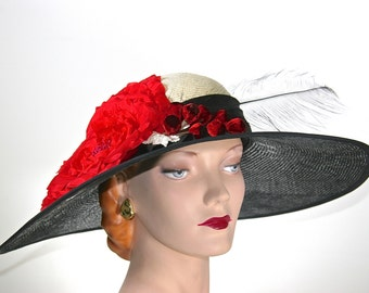 WIDE BRIM Black Kentucky Derby Hat, Black and Ivory Straw Women's Hat