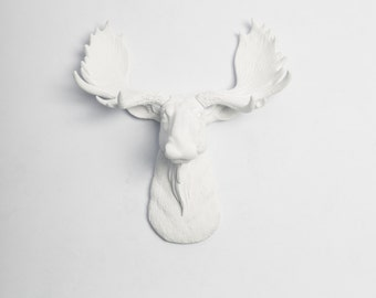 Faux Moose Taxidermy - The MINI Edmonton - Spring Decorations  - White Faux Taxidermy - White Moose Head w/White Antlers Wall Decor