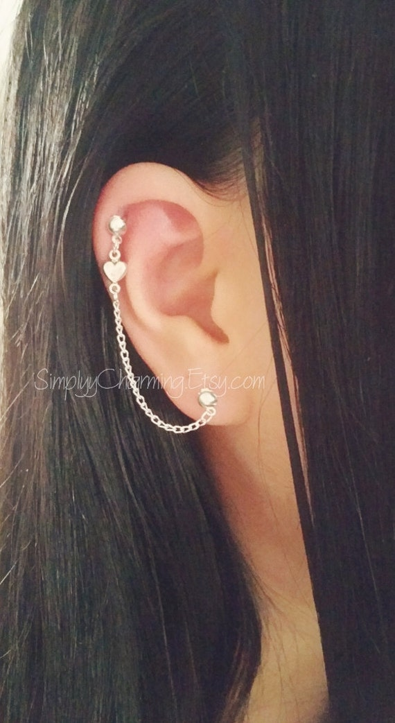 helix cuff earrings tiny cartilage chain earrings lobe helix ear cuff 2882