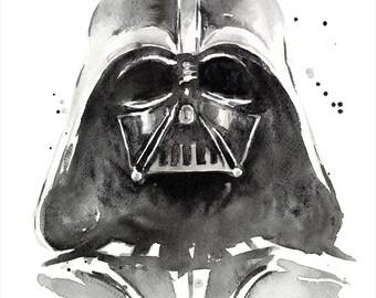 Darth Vader Watercolor Art Print, The Dark Side of Watercolor, Star Wars Art, Geek, Sci-Fi, Portrait