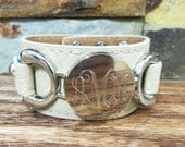 Silver Leather Personalized Bracelet - Initial Bracelet - Monogrammed- Womens Gift