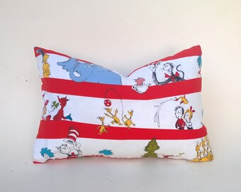 Dr. Seuss Pillow Cover Red, White, Green, Yellow, Blue, For Baby & Child Square, Lumbar, Many Sizes 12 x 18, 14 x 24, 20 x 20