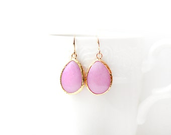 Gold Plated Framed Drop Pink Jade Earrings