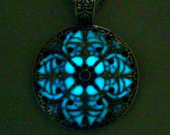 Mandala Necklace Glow In The Dark Necklace Glowing Mandala Jewelry