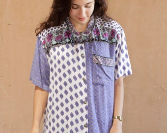 fresh prince VERSACES style 90s baroque FLORAL striped oversize button down shirt