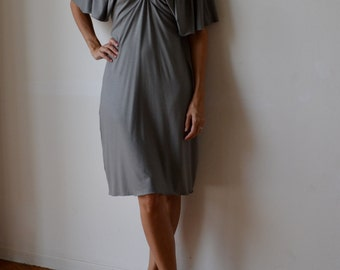 Grey party dress / midi length dress / dress with sleeves / 1920s dress / flapper dress /  kimono sleeves dress / gatsby dress