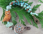 Woodland Owl Bracelet Handmade Ceramic Flower Turquoise and Brown Beads