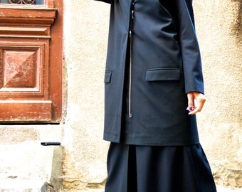 NEW Collection  Autumn Black Trench / High Quality Cold Wool Lined Coat / Extravagant  Asymmetrical  Trench by Aakasha A10153