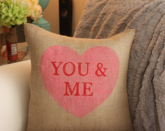 Burlap pIllow - Valentine's Pillow / Heart Pillow