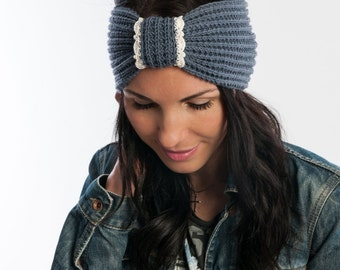 Knit Headband Women's Turband in Gray with lace trim Woman Ear Warmer Woman Winter Accessory Gift for her Winter accessory Stocking stuffer