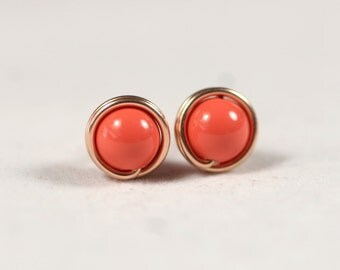 Rose Gold Coral Earrings Wire Wrapped Jewelry Handmade Coral Stud Earrings Rose Gold Stud Earrings Orange Coral Earrings Rose Gold Jewelry