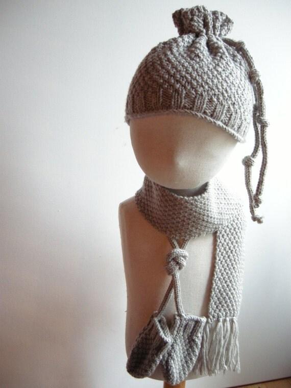 NIGEL - Newborn Irish / Aran Set (scarf, miitens and hat) - Pure merino wool - Beige - pick your color