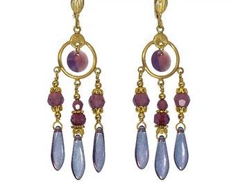 Czech glass chandelier earrings