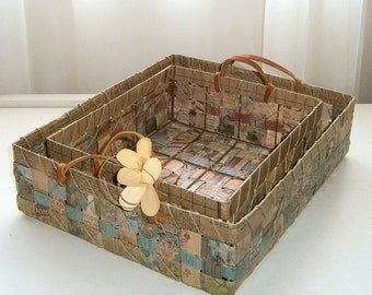 Upcycled Woven Paper Tray Basket, Natural Neutral Hues, Desktop Organization Tray in Small, Medium, and Large sizes