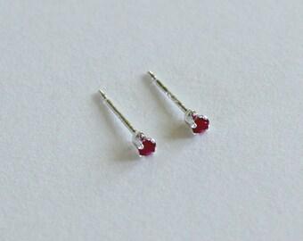 Tiny Garnet Stud Earrings - January Birthstone Small Red Earrings Handcrafted Flower Girl Earrings