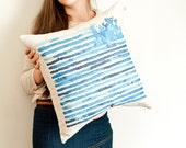 Blue striped pillow cover in watercolor