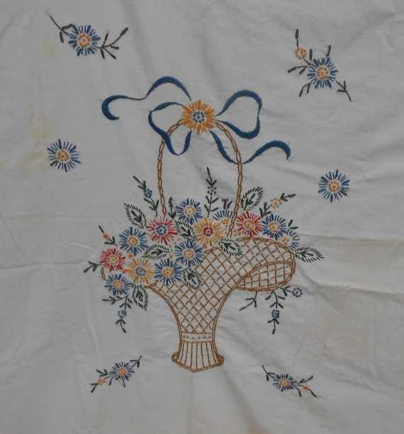 Vintage Hand Embroidered Table Cover With Flower Basket
