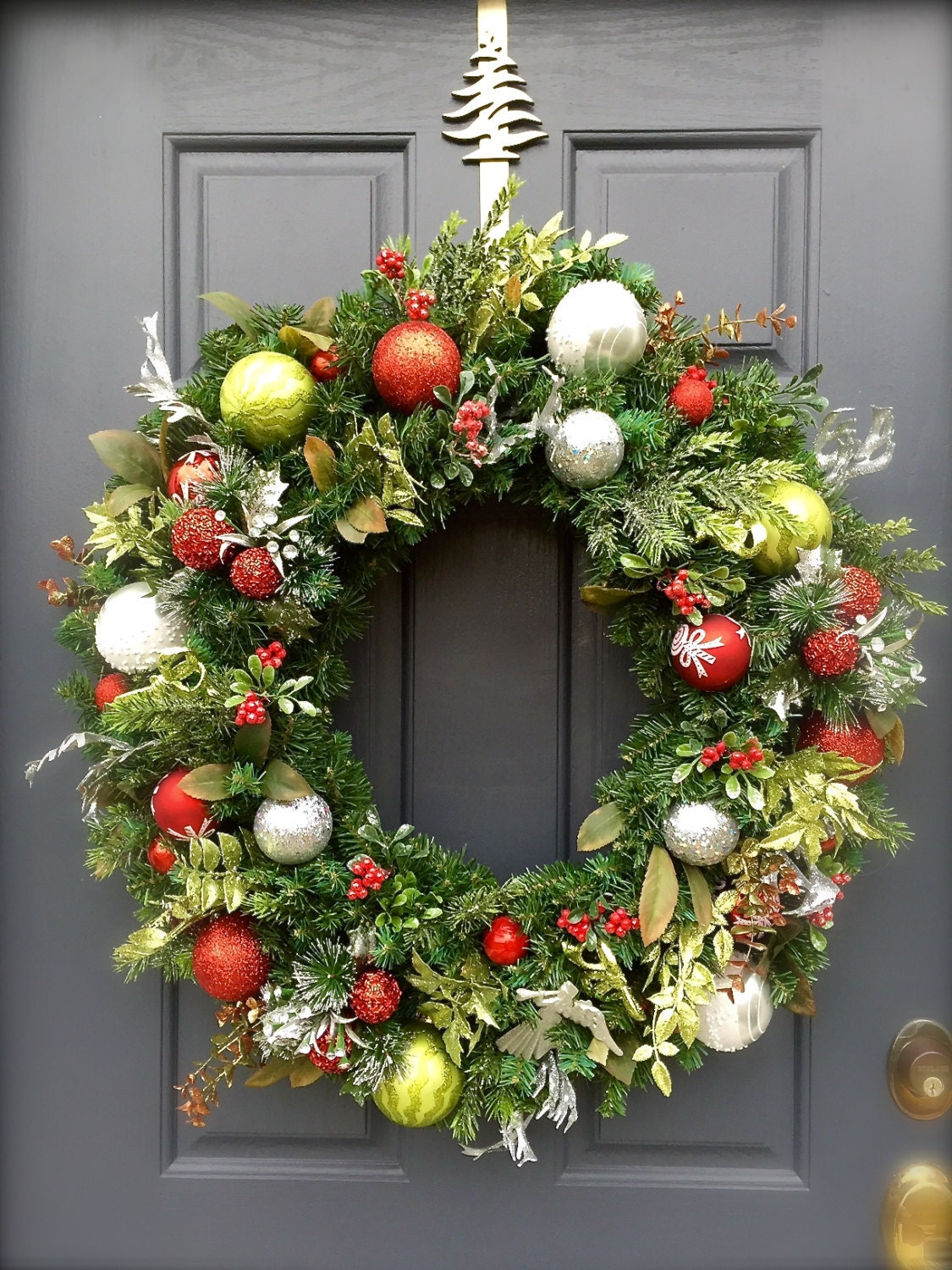 on sale large red green silver christmas wreath holiday. Black Bedroom Furniture Sets. Home Design Ideas