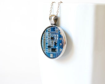 Blue Circuit Board Geekery Statement Necklace, Unique Pendant Science Jewelry