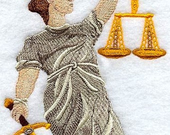 Scales of Justice Embroidered on Made-to-Order Pillow Cover