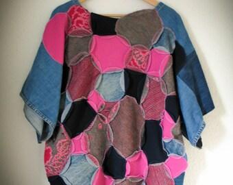 Upcycled kashmir-wool-jeans oversized sweatshirt -  one size