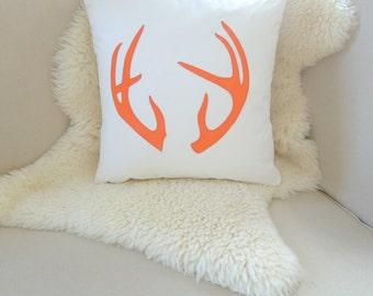 Antler Pillow Cover - Ivory & Orange