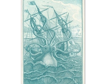 Octopus Print, Nautical Art, Octopus Art, Coastal Decor Beach, Coastal Art, Bathroom Wall Art, Giant Kraken and Ship Print, Teal Decor